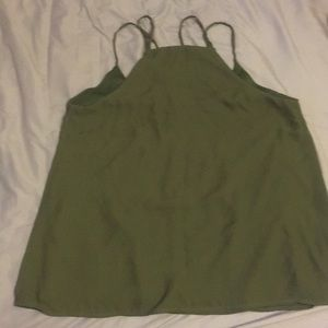 Charlotte Russe Tops - Olive green cross front tank top size S